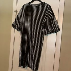 Striped Balloon Sleeved Dress! New with tags!